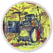 Rockin Drums Round Beach Towel