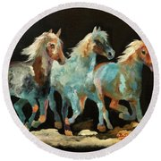 Rockin' Horses Round Beach Towel by Barbie Batson