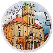 Round Beach Towel featuring the painting Rockingham County Courthouse by Jim Harris