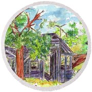 Round Beach Towel featuring the painting Rockland Cabin by Cathie Richardson