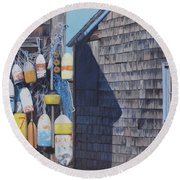 Rockport Fishing Shack With Lobster-buoys And Nets Round Beach Towel