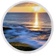 Rockport Golden Sunset Ma. Round Beach Towel
