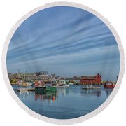 Rockport Harbor Round Beach Towel