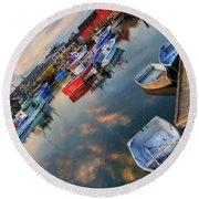 Round Beach Towel featuring the photograph Rockport Harbor Motif #1  by Joann Vitali