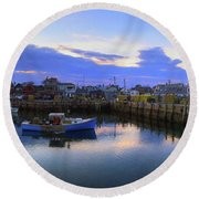 Round Beach Towel featuring the photograph Rockport Harbor Sunset Panoramic With Motif No1 by Joann Vitali
