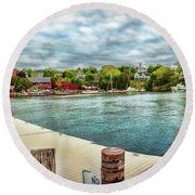 Rockport Inner Harbor Round Beach Towel by Daniel Hebard