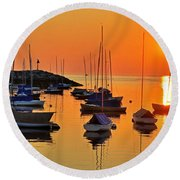 Rockport Ma Boats Rockport Harbor Round Beach Towel