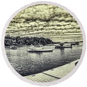Rockport Outer- Harbor Round Beach Towel by Daniel Hebard