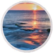 Rockport Pastel Sunset Ma. Round Beach Towel