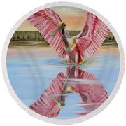 Rockport Roseate Spoonbill Round Beach Towel by Phyllis Beiser