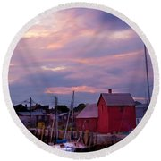 Rockport Sunset Over Motif #1 Round Beach Towel by Jeff Folger