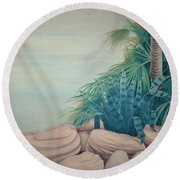 Rocks And Palm Tree Round Beach Towel