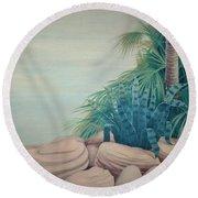 Rocks And Palm Tree Round Beach Towel