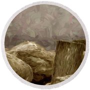 Rocks And Pilings Round Beach Towel