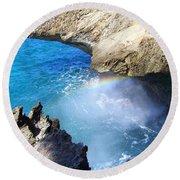 Rocks And Rainbow Round Beach Towel