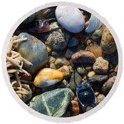 Rocks And Shells On Sandy Neck Beach Round Beach Towel