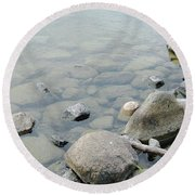 Rocks And Water Round Beach Towel