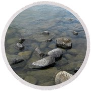 Rocks And Water Too Round Beach Towel