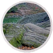 Rocks At Central Park Round Beach Towel by Sandy Moulder