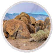 Rocks At Dusk Round Beach Towel