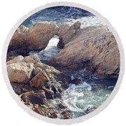 Rocks At Montana De Oro Round Beach Towel