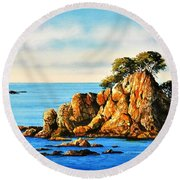 Rocks At Palafrugel,calella, Spain Round Beach Towel