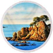 Rocks At Palafrugel,calella, Spain Round Beach Towel