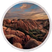 Rocks At Sunrise Round Beach Towel