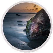 Rocks At Sunset Round Beach Towel