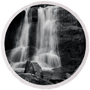 Round Beach Towel featuring the photograph Rocks Below The Falls In Black And White by Chrystal Mimbs