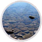 Rocks In Calm Waters Round Beach Towel