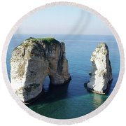Rocks In Sea Round Beach Towel