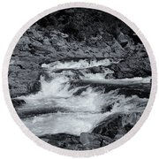 Round Beach Towel featuring the photograph Rocks Of Chippewa Falls by Rachel Cohen