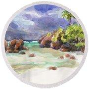 Rocks Of Motu Rakau, Aitutaki Round Beach Towel