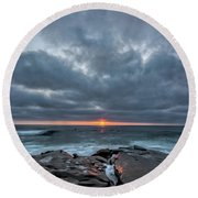 Rocks On Fire Round Beach Towel by Peter Tellone
