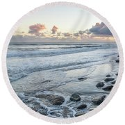 Rocks On The Beach During Sunset Round Beach Towel