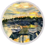 Rocktide Sunset Round Beach Towel by Melly Terpening