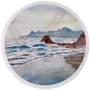 Round Beach Towel featuring the painting Rocky Beach by Geni Gorani