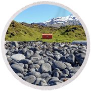 Round Beach Towel featuring the photograph Rocky Beach Iceland by Edward Fielding