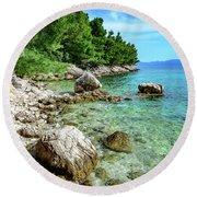 Rocky Beach On The Dalmatian Coast, Dalmatia, Croatia Round Beach Towel