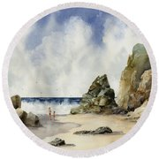 Round Beach Towel featuring the painting Rocky Beach by Sam Sidders