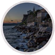 Round Beach Towel featuring the photograph Rocky Coast At Dawn - Piran - Slovenia by Stuart Litoff