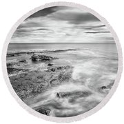 Round Beach Towel featuring the photograph Rocky Coastline La Mata by Gary Gillette
