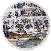 Round Beach Towel featuring the photograph Rocky Creek by Ella Kaye Dickey