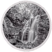 Round Beach Towel featuring the photograph Rocky Falls - Bw by Christopher Holmes