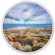 Round Beach Towel featuring the photograph Rocky Landscape by Gary Gillette