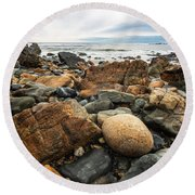 Rocky Maine Coast Round Beach Towel