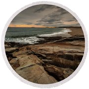 Rocky Maine Shoreline  Round Beach Towel