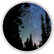 Round Beach Towel featuring the photograph Rocky Mountain Forest Night by James BO Insogna