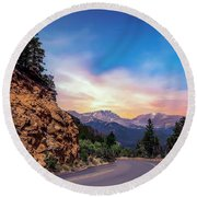 Rocky Mountain High Road Round Beach Towel